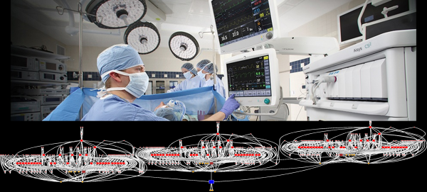 "A realistic hospital environment includes thousands of patients and hundreds of thousands of devices. Reliable monitoring technology must find the right patient and guarantee delivery of that patient's data to the right analysis or staff. In the connectivity map above, every red dot is a ""fog routing node"", responsible for passing the right data up to the next layer."